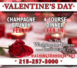 CELEBRATE VALENTINE'S DAY - FOUR COURSE DINNER AT WASHINGTON HOUSE in Washington House Restaurant