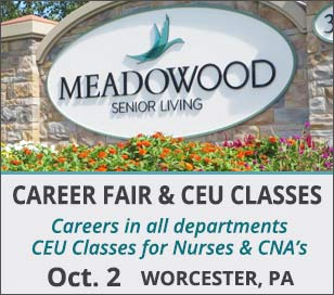 Dual event: Career Fair & Continuing Education Event for Nurses and CNA's. In addition to a company-wide Career Fair for all departments, (Health Center, Dining, Housekeeping, Maintenance, Grounds, Transportation/Security, Marketing, Resident Care, Life Enrichment, Fitness, Administration), with on-the-spot interviews, RN's will have an opportunity to earn 2 credits at a continuing education class; LPN's and CNA's will receive a Certificate of Attendance. CEU Class space is limited! RSVP to hr@mwood.org to save your space. See website for topics and class details.